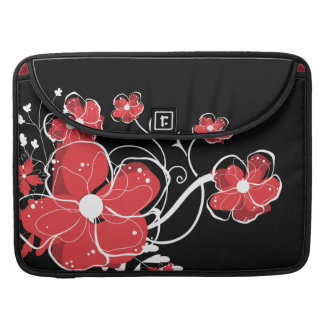 Modern Girly Red and White Flowers MacBook Pro Sleeve