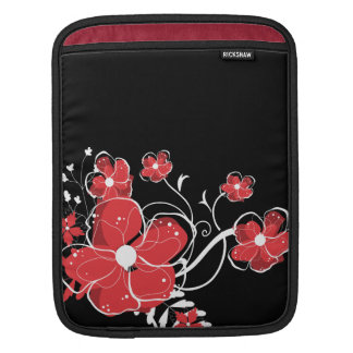 Modern Girly Red and White Flowers Sleeve For iPads
