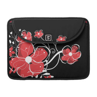 Modern Girly Red and White Flowers Sleeves For MacBook Pro