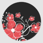 Modern Girly Red and White Flowers Stickers