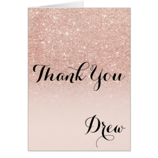 Modern girly rose gold glitter ombre thank you card