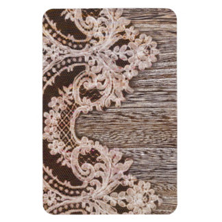 modern girly rustic barn wood western country lace rectangular photo magnet