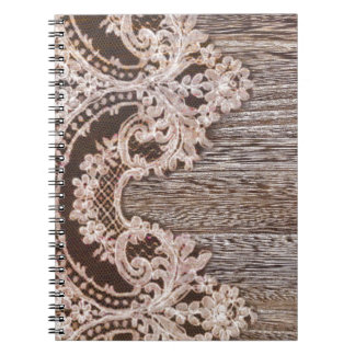 modern girly rustic barn wood western country lace spiral note books