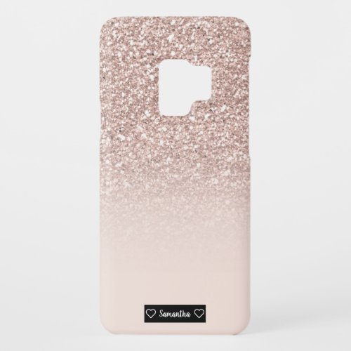 Modern girly sequins rose gold glitter ombre blush Case_Mate samsung galaxy s9 case