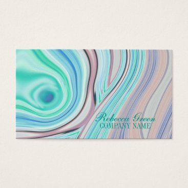 Professional Business modern girly swirls fashion beauty coral turquoise business card