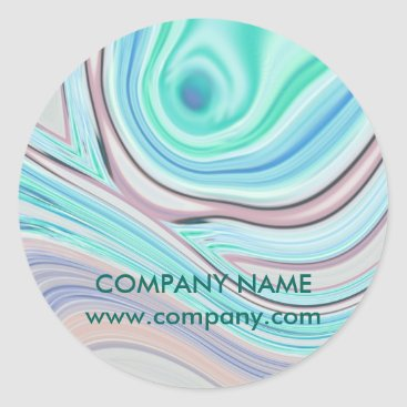 Professional Business modern girly swirls fashion beauty coral turquoise classic round sticker