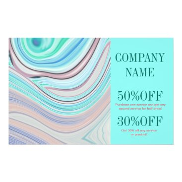 Professional Business modern girly swirls fashion beauty coral turquoise flyer