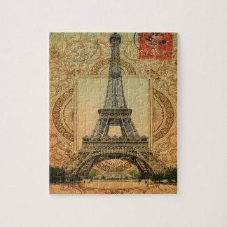 modern girly swirls pattern vintage eiffel tower jigsaw puzzle