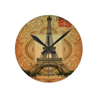 modern girly swirls pattern vintage eiffel tower round clock