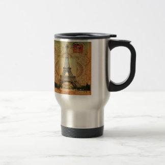 modern girly swirls pattern vintage eiffel tower travel mug