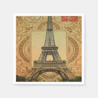 modern girly swirls vintage paris eiffel tower paper napkin