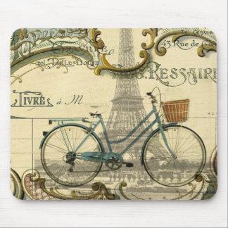 modern girly vintage bike paris eiffel tower mouse pad