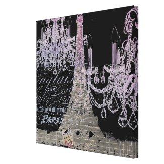 modern girly vintage chandelier paris eiffel tower canvas prints