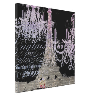 modern girly vintage chandelier paris eiffel tower canvas print