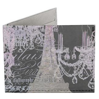 modern girly vintage chandelier paris eiffel tower tyvek® billfold wallet