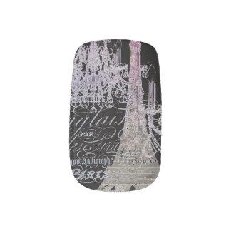 modern girly vintage chandelier paris eiffel tower minx® nail wraps