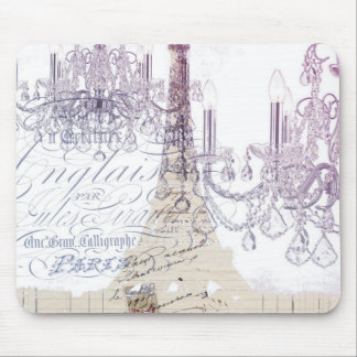 modern girly vintage chandelier paris eiffel tower mouse pad
