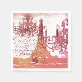 modern girly vintage chandelier paris eiffel tower paper napkin