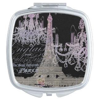 modern girly vintage chandelier paris eiffel tower compact mirrors