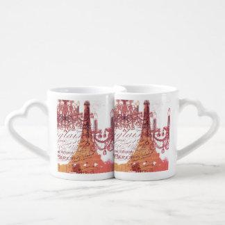 modern girly vintage chandelier paris eiffel tower couples' coffee mug set