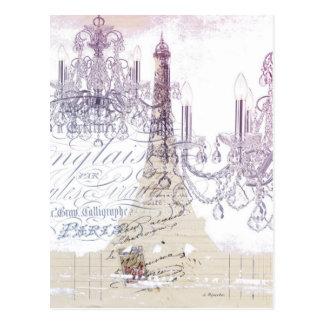 modern girly vintage chandelier paris eiffel tower post card