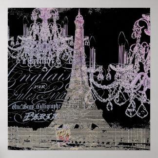 modern girly vintage chandelier paris eiffel tower poster