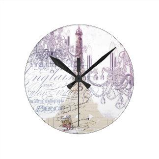 modern girly vintage chandelier paris eiffel tower round clock