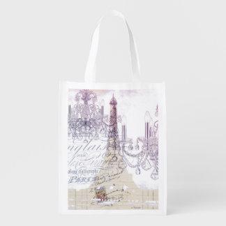 modern girly vintage chandelier paris eiffel tower reusable grocery bag