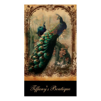 modern girly vintage peacock fashion Double-Sided standard business cards (Pack of 100)