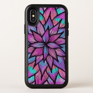 Modern Girly Watercolor Black Lined Floral Petals OtterBox Symmetry iPhone X Case