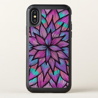 Modern Girly Watercolor Black Lined Floral Petals Speck iPhone X Case