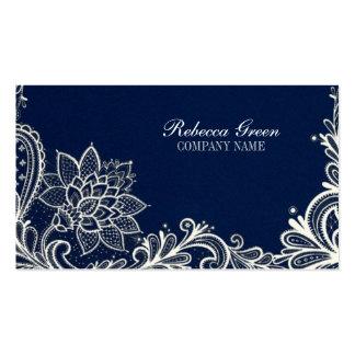modern girly white lace navy blue swirls fashion business card