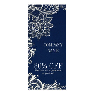 modern girly white lace navy blue swirls fashion rack card