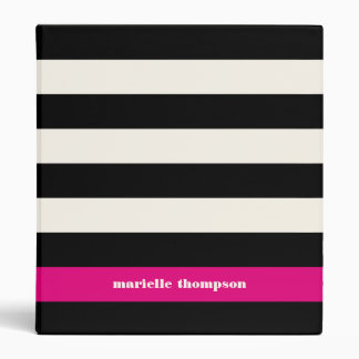 Modern Glam Black, Cream & Fuchsia Stripe 3 Ring Binder