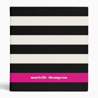 Modern Glam Black, Cream & Fuchsia Stripe 3 Ring Binder