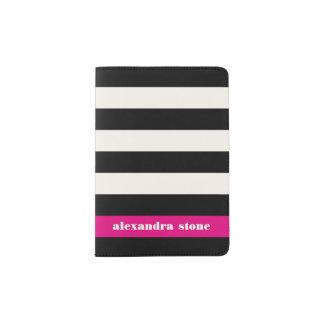Modern Glam Black, Cream & Fuchsia Stripe Passport Holder