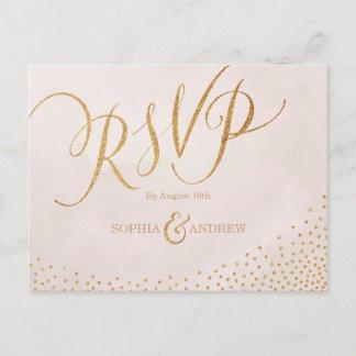 Modern glam blush rose gold calligraphy RSVP Invitation Postcard
