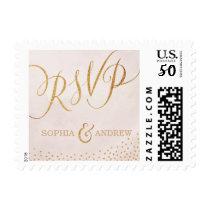 Modern glam blush rose gold calligraphy RSVP Postage