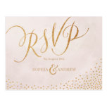 Modern Glam Blush Rose Gold Calligraphy Rsvp Postcard at Zazzle