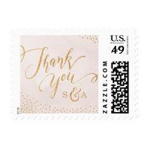 Modern glam blush rose gold calligraphy thank you postage