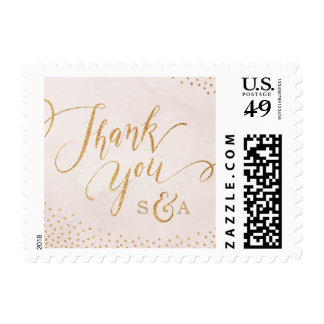 Modern glam blush rose gold calligraphy thank you postage