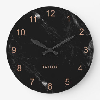 Modern Glam Faux Rose Gold Look and Black Marble Large Clock
