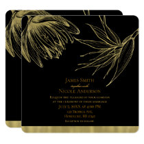 Modern Glam Gold & Black Tropical Botanical Floral Card