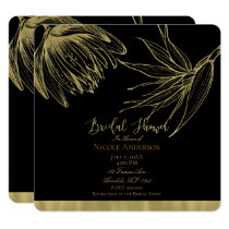Modern Glam Gold & Black Tropical Bridal Shower Card