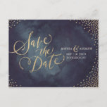 """Modern glam gold glitter calligraphy save the date announcement postcard<br><div class=""""desc"""">Glamour gold hand lettering calligraphy design and gold dots confetti on dark navy sky night watercolor background, shimmer faux metallic gold glitter effect, modern, chic, elegant and classy, perfect for vintage wedding or winter wedding in evening. Custom your own save the date postcard for your wedding invitation set. See all...</div>"""