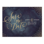Modern glam gold glitter calligraphy save the date postcard