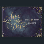 "Modern glam gold glitter calligraphy save the date postcard<br><div class=""desc"">Glamour gold hand lettering calligraphy design and gold dots confetti on dark navy sky night watercolor background, shimmer faux metallic gold glitter effect, modern, chic, elegant and classy, perfect for vintage wedding or winter wedding in evening. Custom your own save the date postcard for your wedding invitation set. See all...</div>"