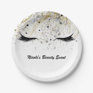Modern Glam Gold Silver Black Eyelashes Beauty Paper Plate