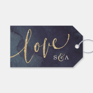 Modern glam night faux gold glitter calligraphy gift tags