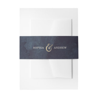 Modern glam night faux gold glitter monogram invitation belly band